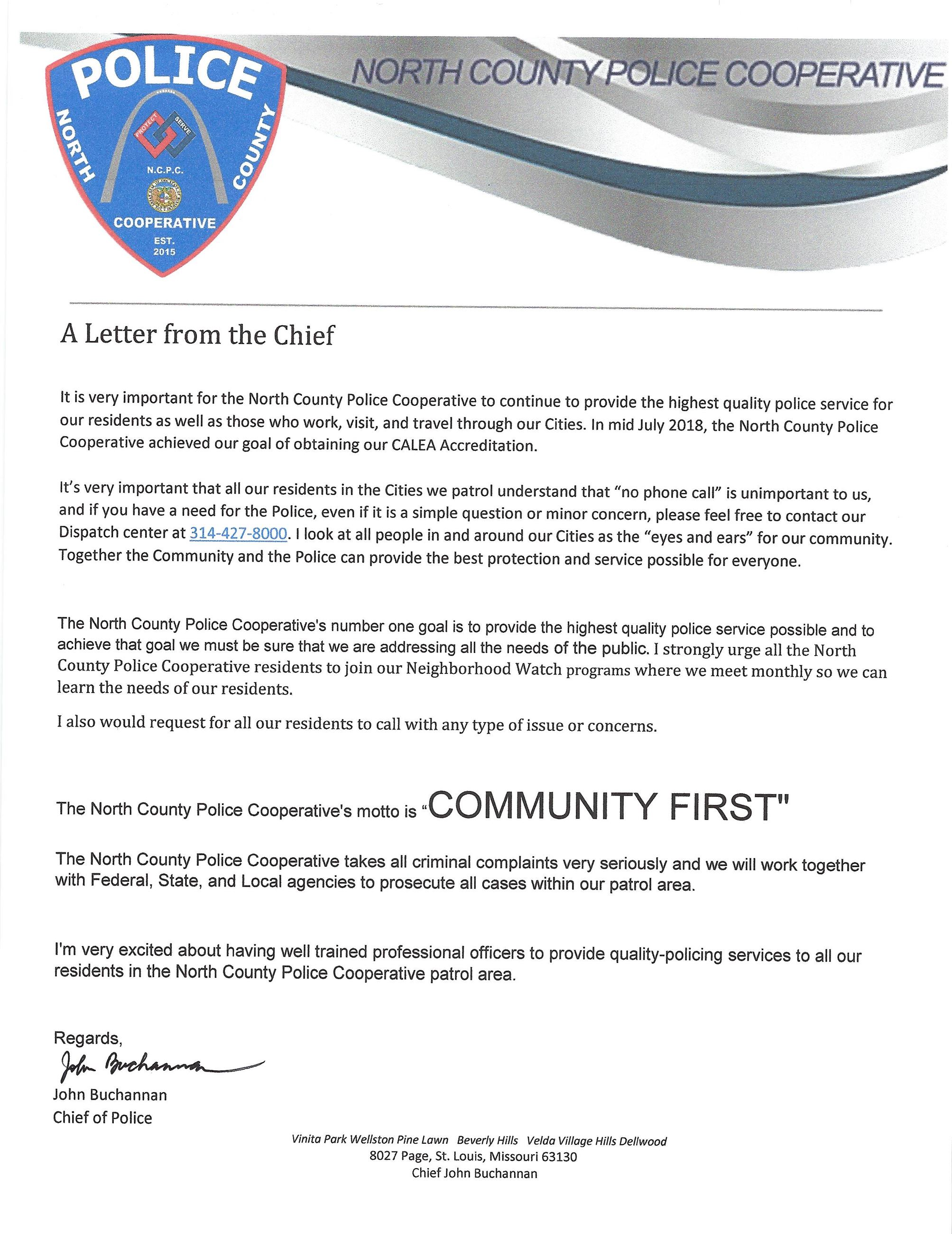 Chief Letter