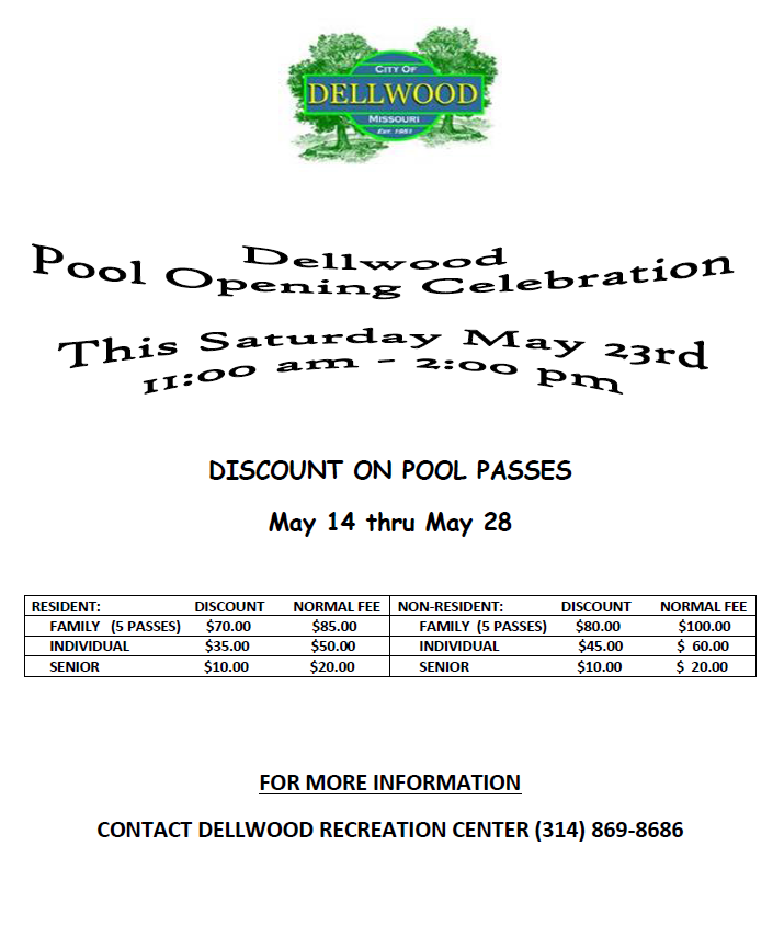 Pool opening flyer
